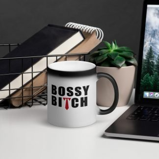 Bossy Bitch Matte Black Magic Mug